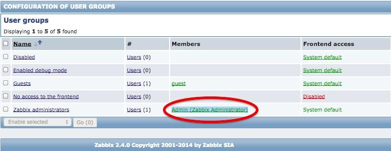 Admin (Zabbix Administrator)