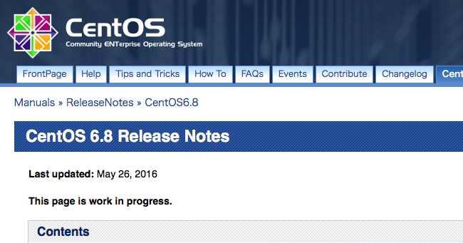 CentOS6.8のリリースノート